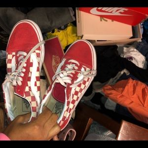 Vans red and white checkered board